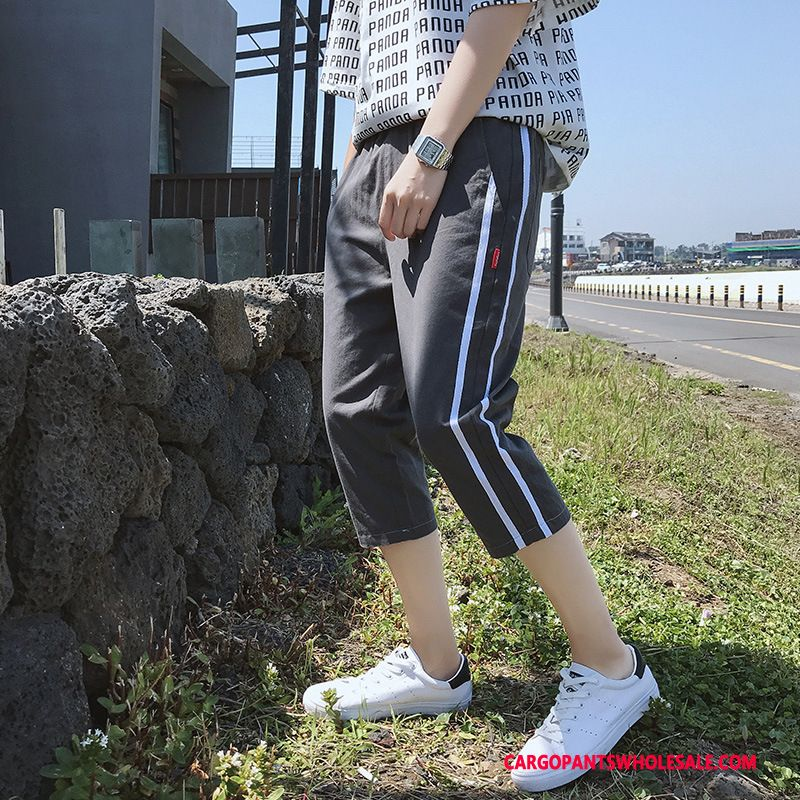 Capri Pants Male Red Large Size Thin Section Men Trend Small Casual Pants