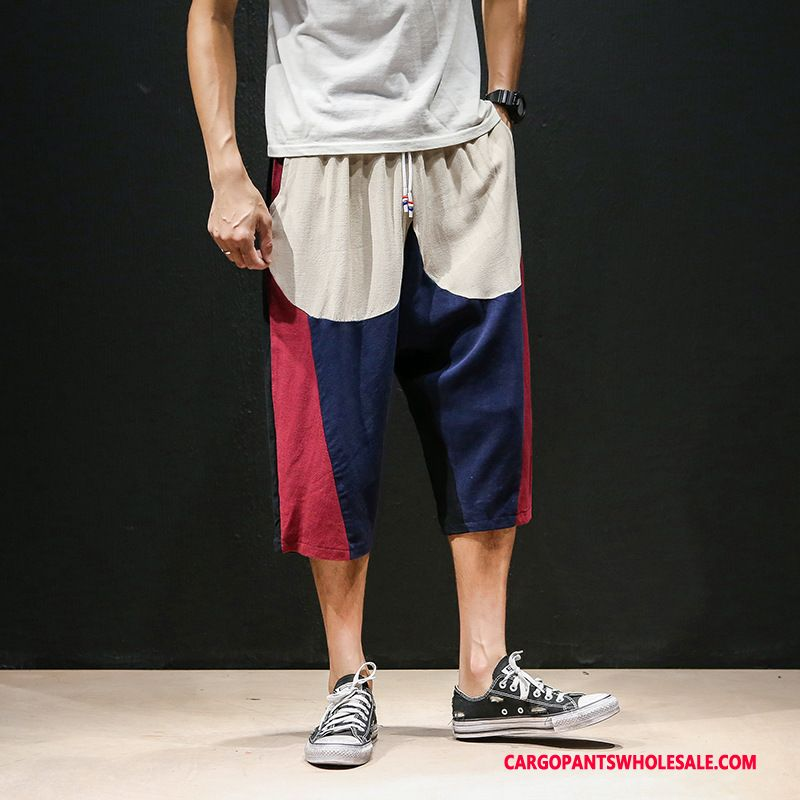 Capri Pants Male Red Linen Shorts Loose Capri Pants Leisure