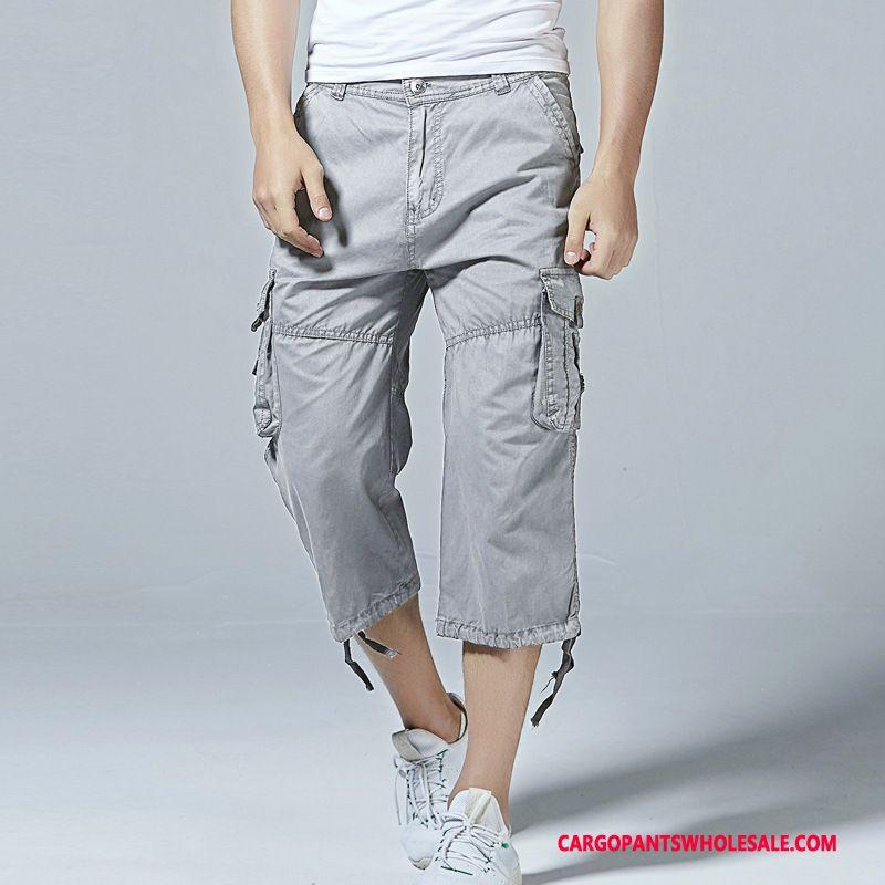 Capri Pants Male Red Pants Capri Pants Loose Summer Multi-pocket