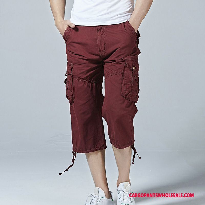 Capri Pants Male Red Pants Capri Pants Loose Summer Multi-pocket