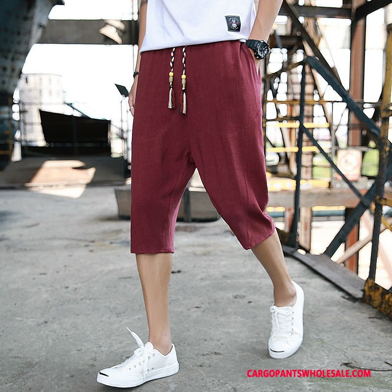 Capri Pants Male Red Pants Harlan Men Summer Casual Pants Loose