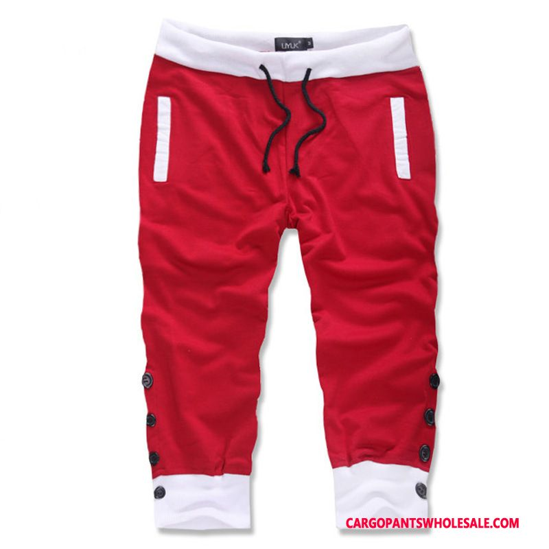 Capri Pants Male Red Pants Leisure Casual Pants The New Motion