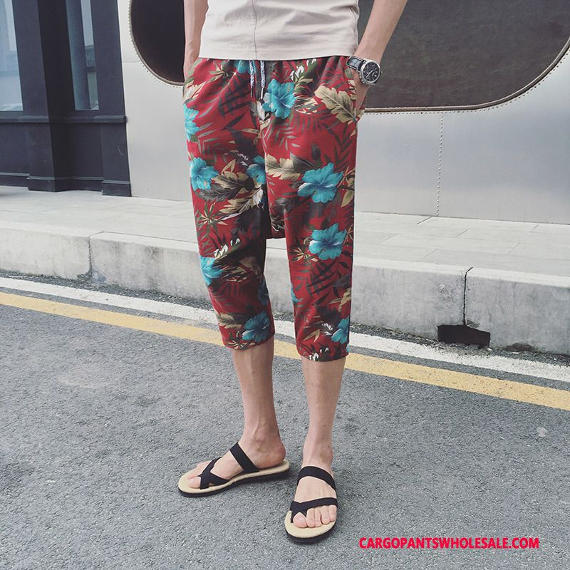 Capri Pants Male Red Pants The New All Match Straight Casual Pants