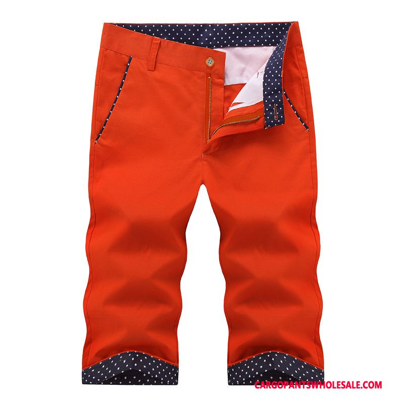 Capri Pants Male Red Pants The New Men Thin Section Casual Pants Cotton