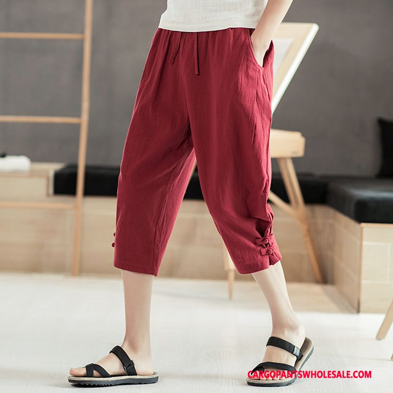 Capri Pants Male Red Summer Capri Pants Medium Leisure Thin Section