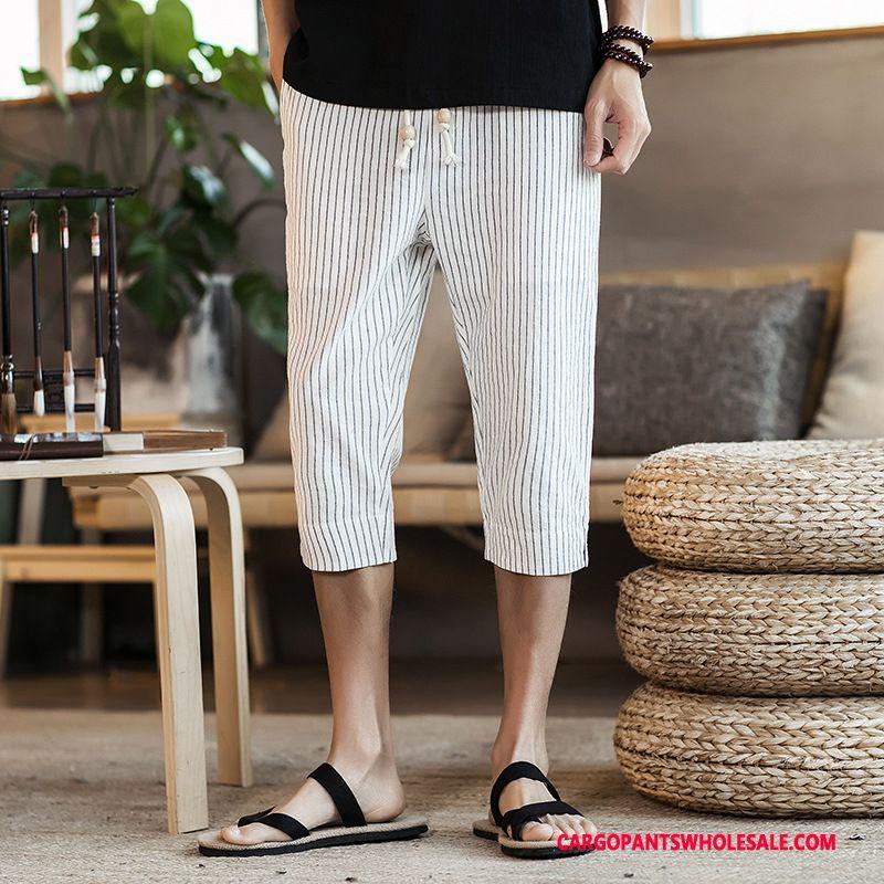 Capri Bukser Mænd Hvid Kinesisk Stil Brede Mode Bukser Stribede