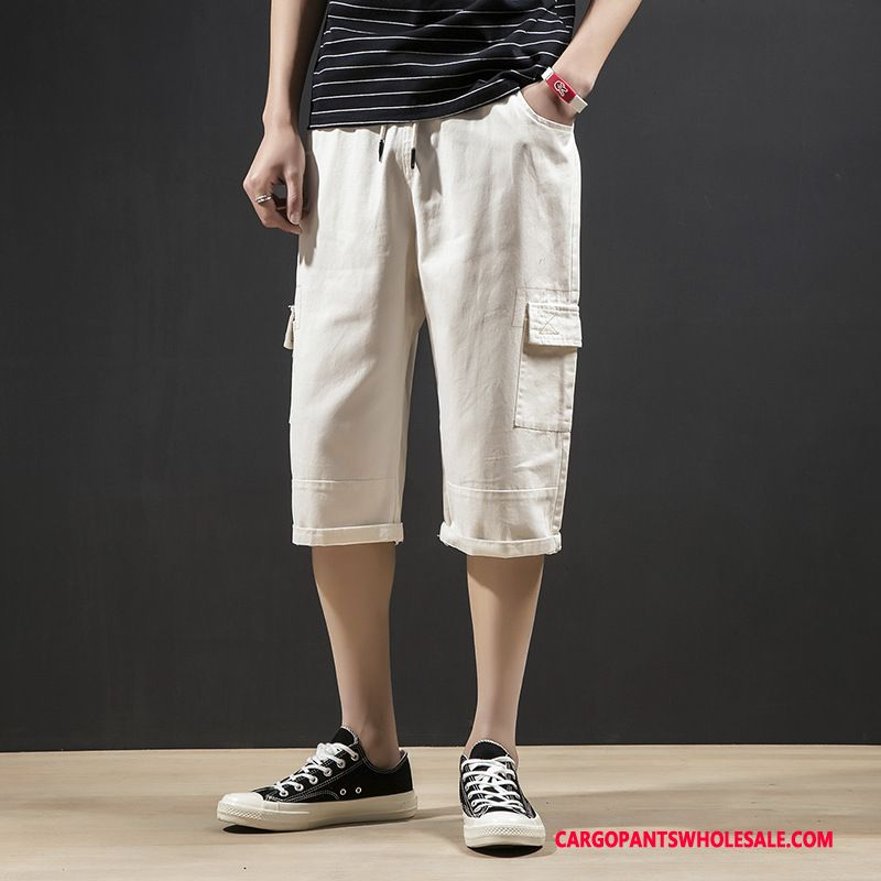 Capri Pants Male White Retro Casual Pants Big Pocket All Match Cargo Pants