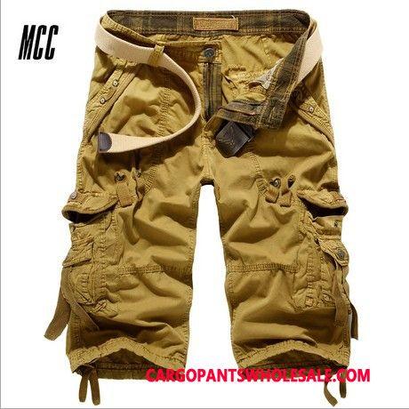 Capri Pants Male Yellow Summer Loose Men Cargo Pants Multi-pocket Capri Pants