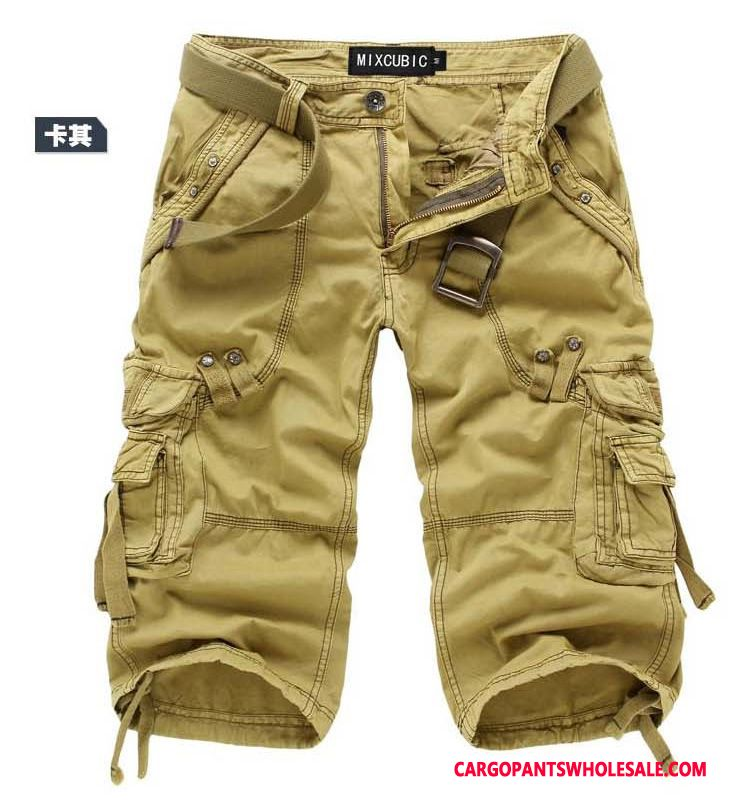 Capri Pants Male Yellow Summer Loose Men Cargo Pants Multi-pocket Capri Pants