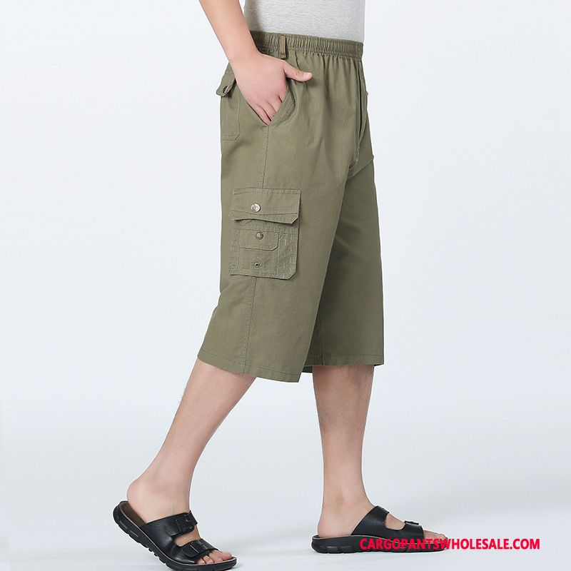 Capri Pants Men Army Green Summer Pants Beach Medium High Waist