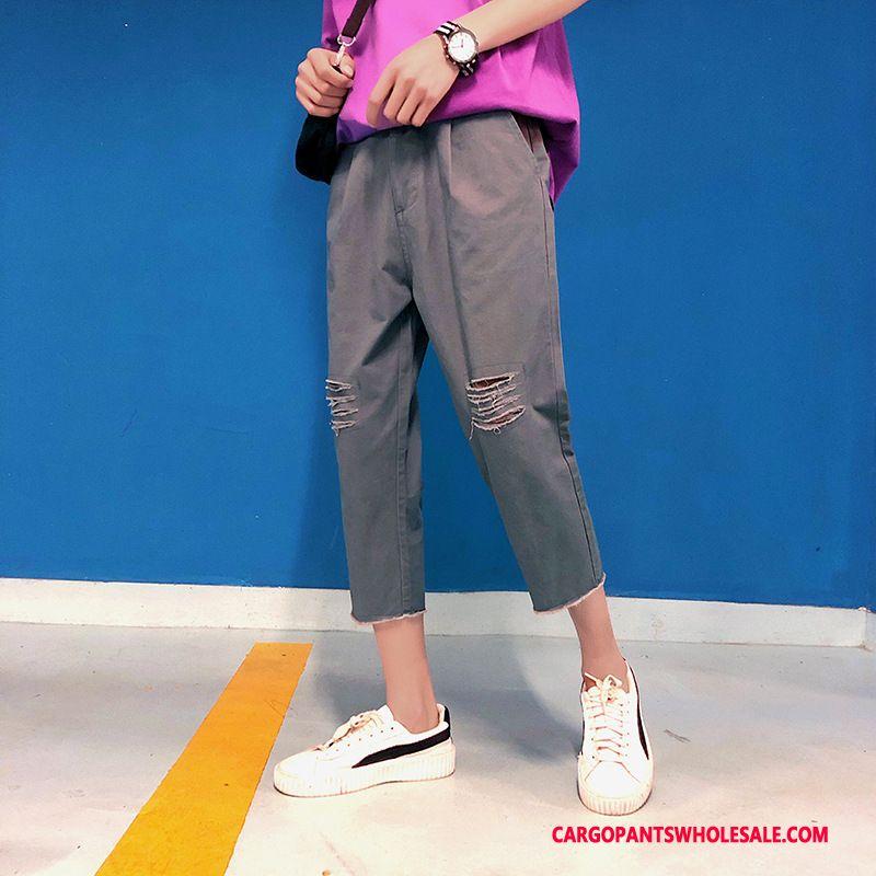 Capri Pants Men Black Gray Pants Capri Pants Loose Cargo Pants Casual Pants
