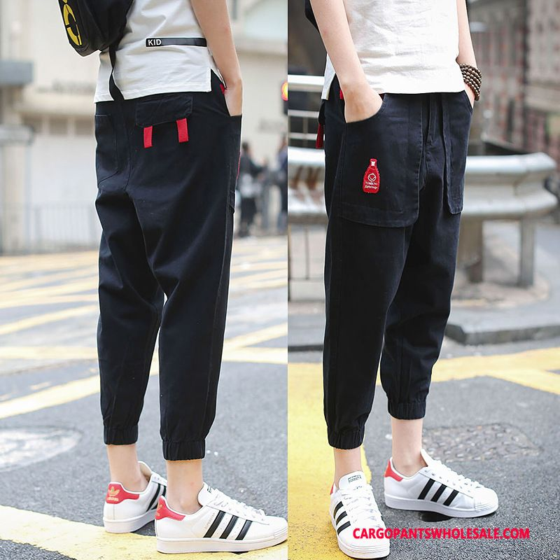 Capri Pants Men Black Green Capri Pants Summer Student Casual Pants Trend