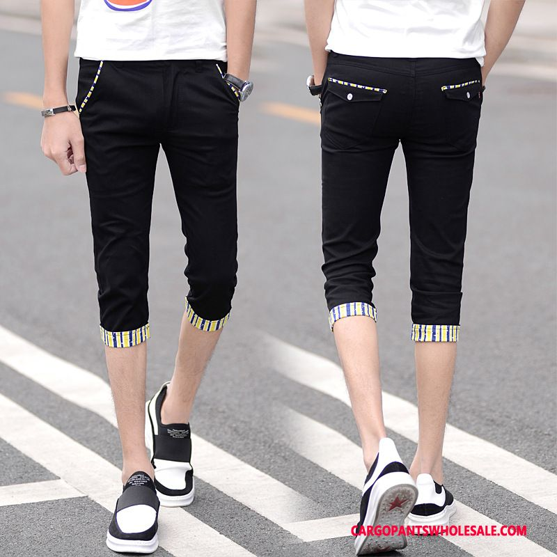 Capri Pants Men Black Green Casual Pants Capri Pants Sweatpants Elastic Force Summer