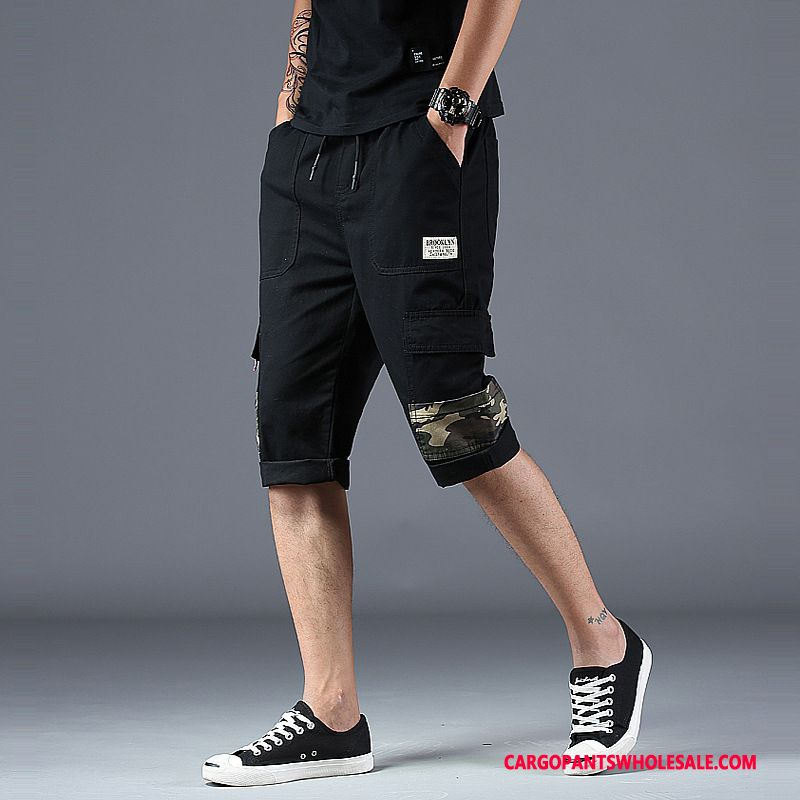 Capri Pants Men Black Shorts Tide Brand Multi-pocket Capri Pants Cargo Pants