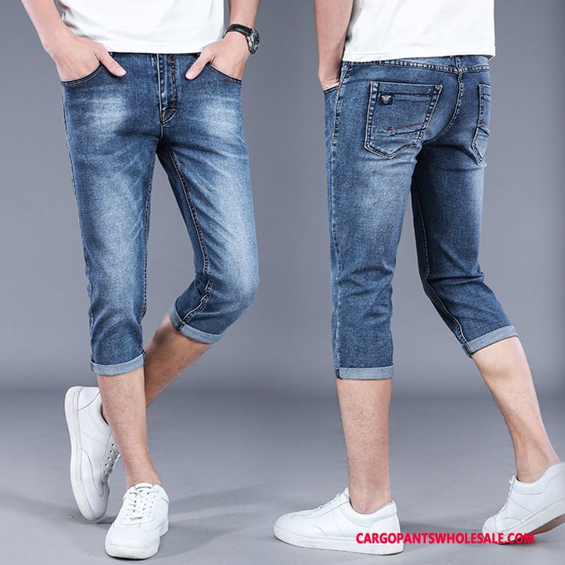 Capri Pants Men Blue Jeans Slim Fit Small Pants Summer