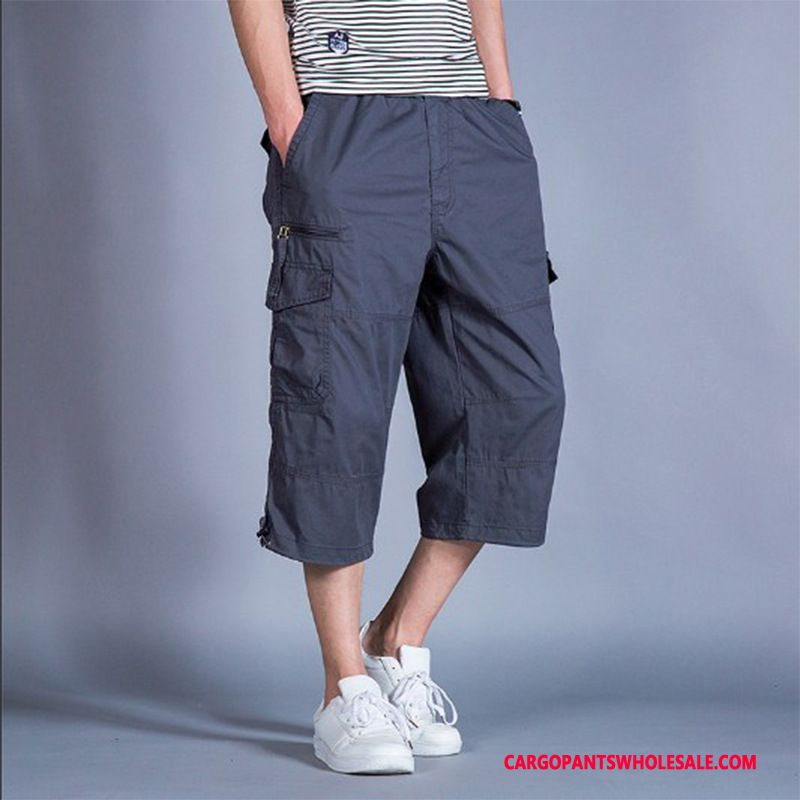 Capri Pants Men Blue Shorts Plus Size Loose Cargo Motion