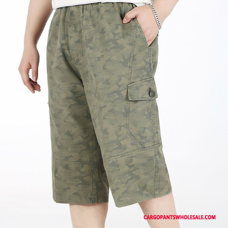 Capri Pants Men Camouflage Army Green Deep Outdoor Summer Pants Large Size Straight