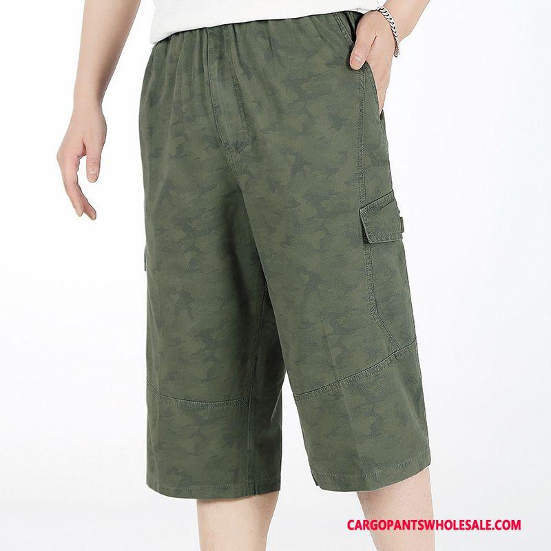 Capri Bukser Herre Camouflage Army Grøn Dyb Farve Bukser Udendørs Sommer Brede Cargo Bukser