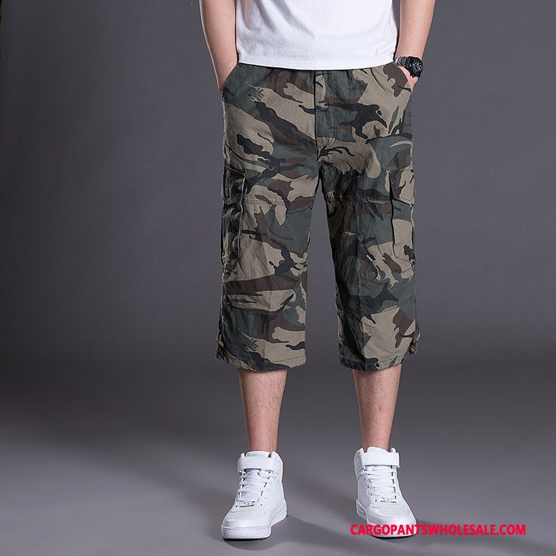 Capri Pants Men Camouflage Green Capri Pants Shorts Leisure Cargo Pants Summer