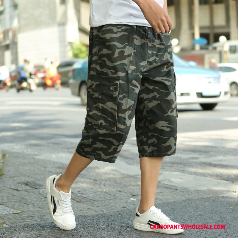 Capri Pants Men Camouflage Green Loose Medium Shorts Pants Summer