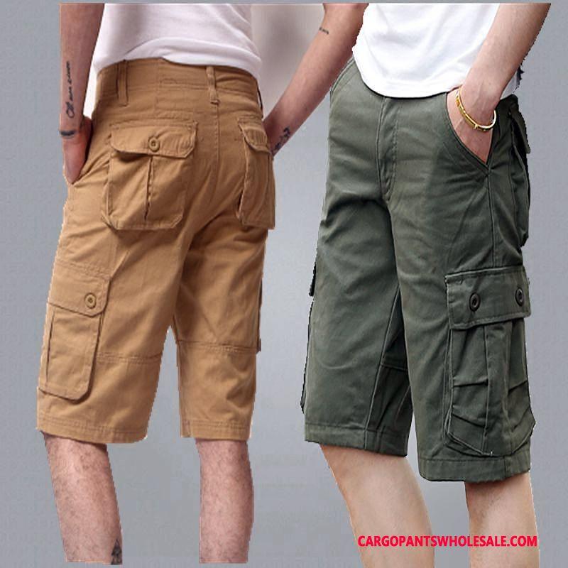 Capri Pants Men Camouflage Khaki Leisure Cargo Pants Large Size Multi-pocket Loose