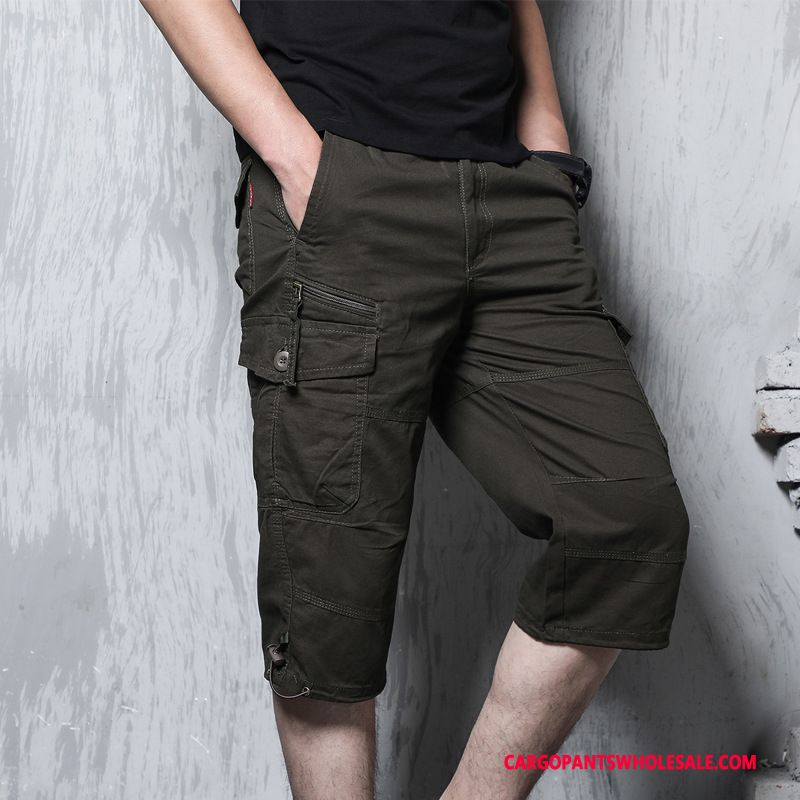 Capri Pants Men Deep Gray Cargo Pants Loose Fashion Straight Medium