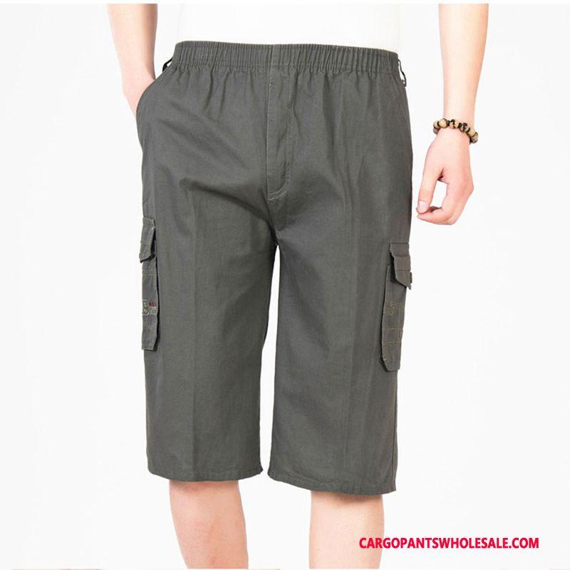 Capri Pants Men Deep Gray Leisure Cargo Pants Cotton Summer Large Size