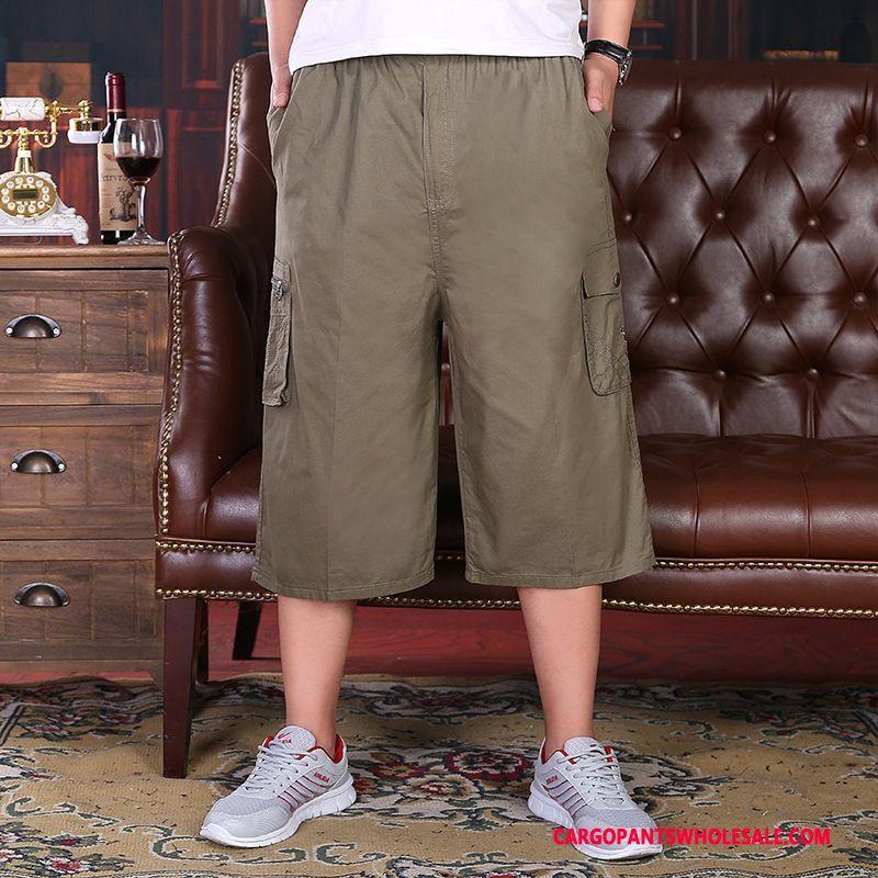 Capri Pants Men Deep Gray Loose Capri Pants Shorts Middle Aged Straight