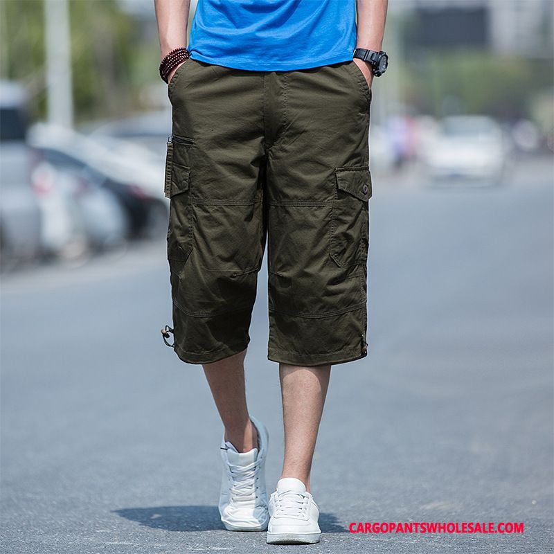 Capri Pants Men Deep Gray Shorts Capri Pants Thin Section Summer Cargo