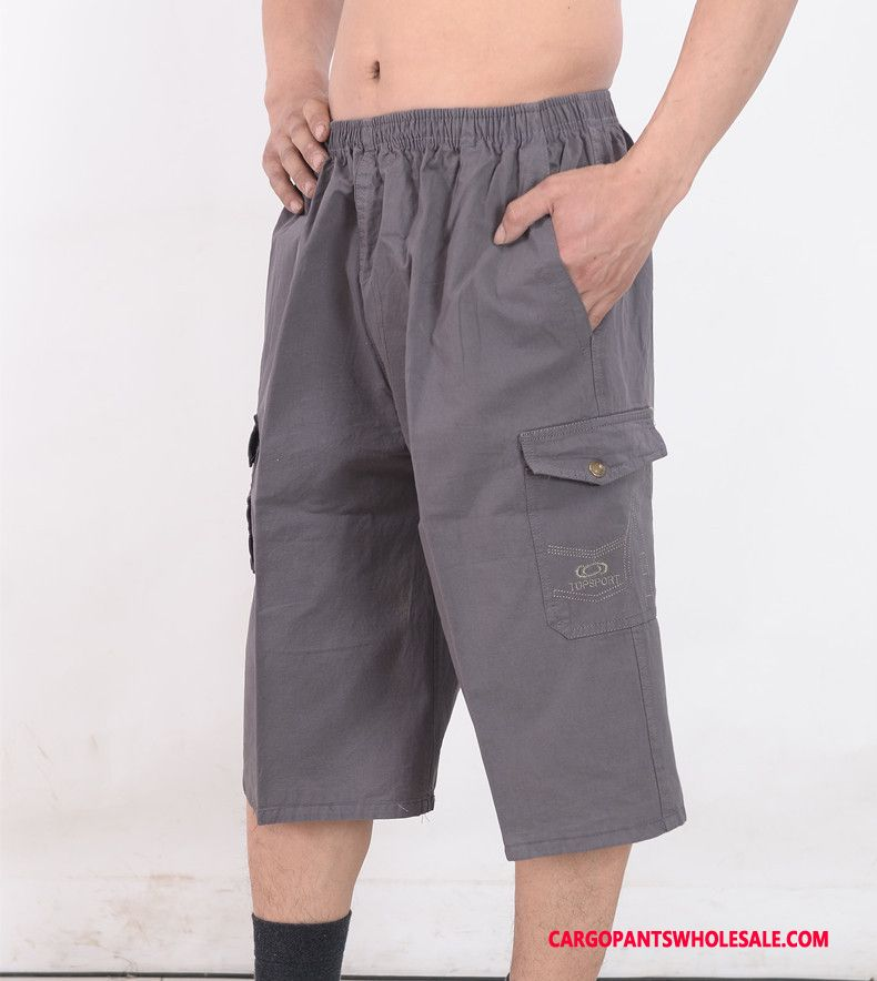 Capri Pants Men Gray Capri Pants Loose Leisure Beach Summer