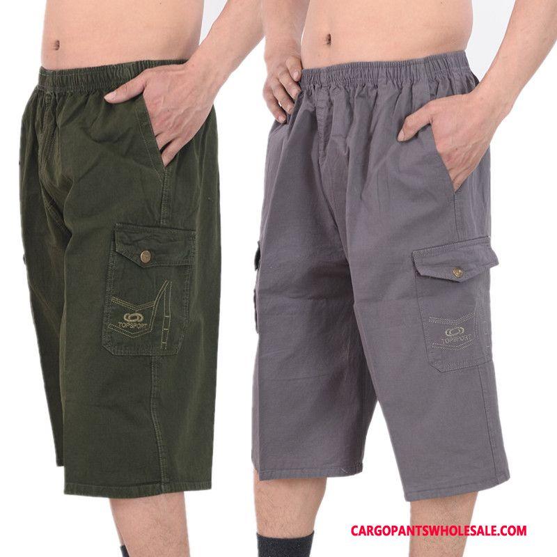 Capri Bukser Herre Grå Sommer Cargo Bukser Midaldrende Brede Bukser