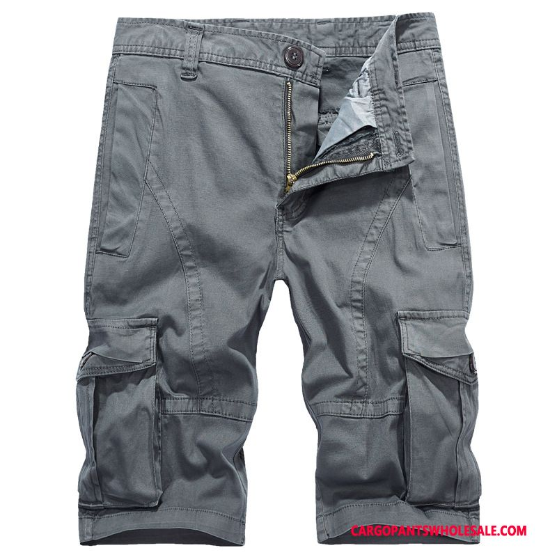 Capri Pants Men Gray Capri Pants Shorts Cargo Shorts Leisure