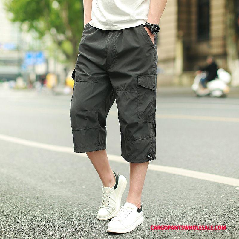Capri Pants Men Gray Fat Pants Cargo Pants Loose Casual Pants