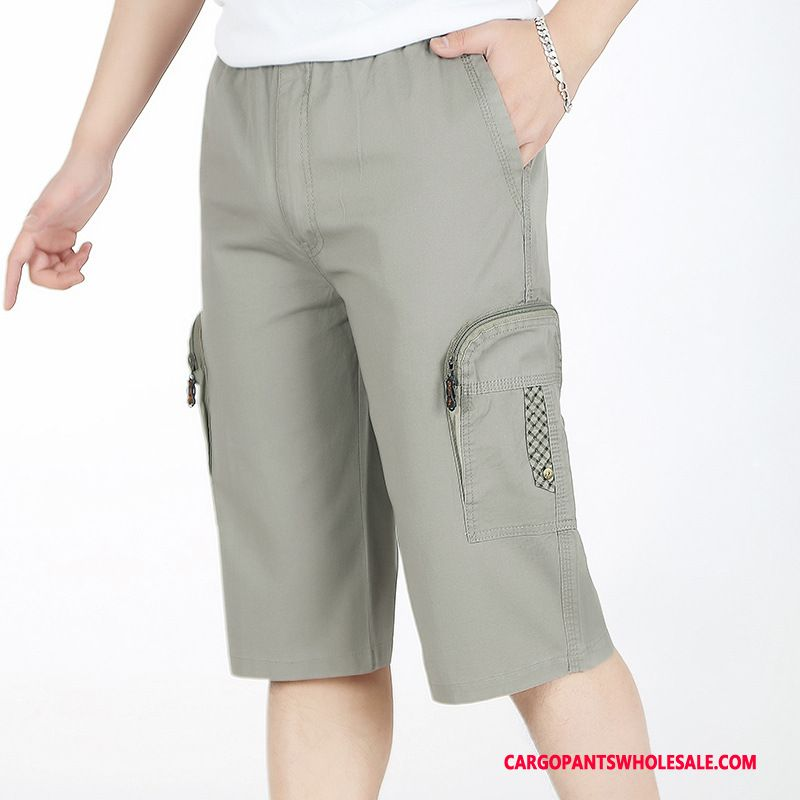 Capri Pants Men Gray Hip Hop Capri Pants Plus Size Fat Elastic