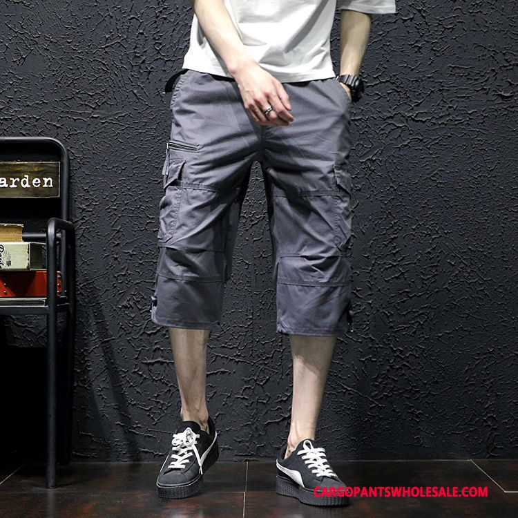 Capri Pants Men Gray Large Size Summer Pants Cargo Pants Loose