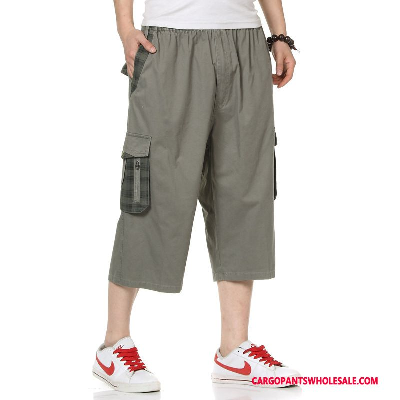 Capri Pants Men Gray Leisure Large Size Wear Outside Pants Summer