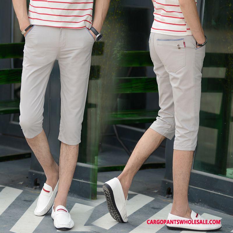 Capri Pants Men Gray Pants Slim Fit Casual Pants Elastic Force Straight
