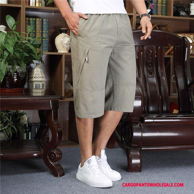 Pantalones Capri Hombre Gris Talla Grande Pantalones Cortos Pantalones Delgada Medio