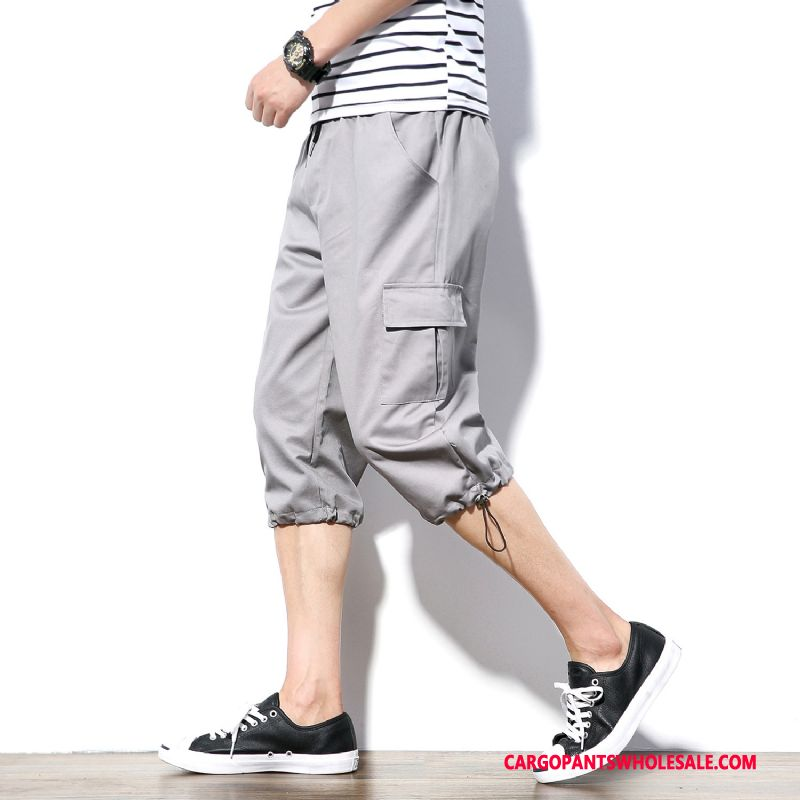 Capri Pants Men Gray The New Trend Sweatpants Loose Leisure