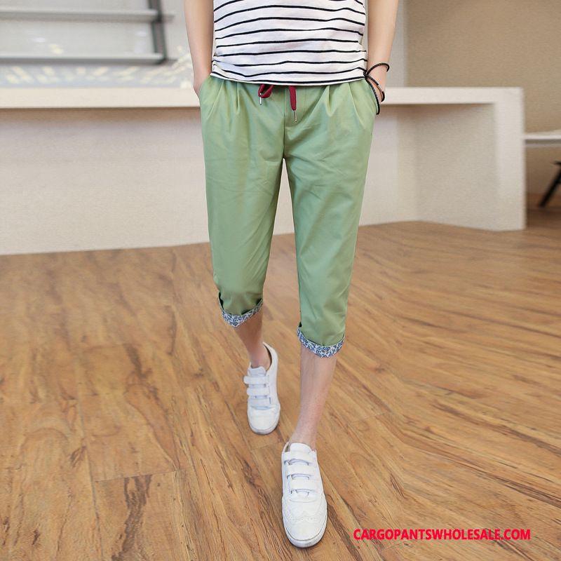 Capri Pants Men Green Green Capri Pants Juvenile Casual Pants Elastic Lace