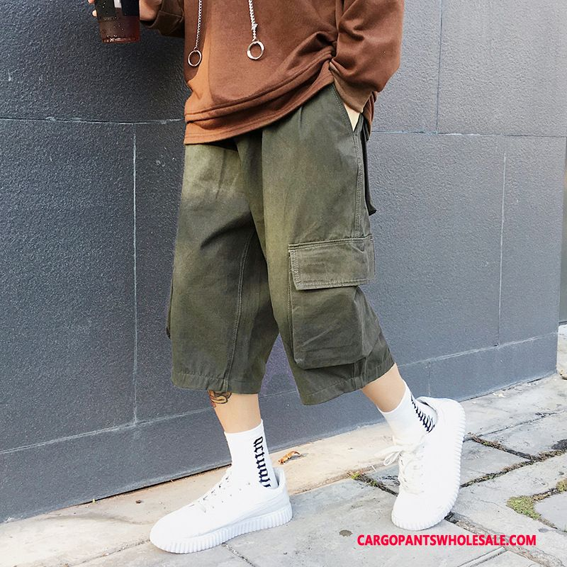 Capri Pants Men Green Pants Loose Shorts Summer Capri Pants