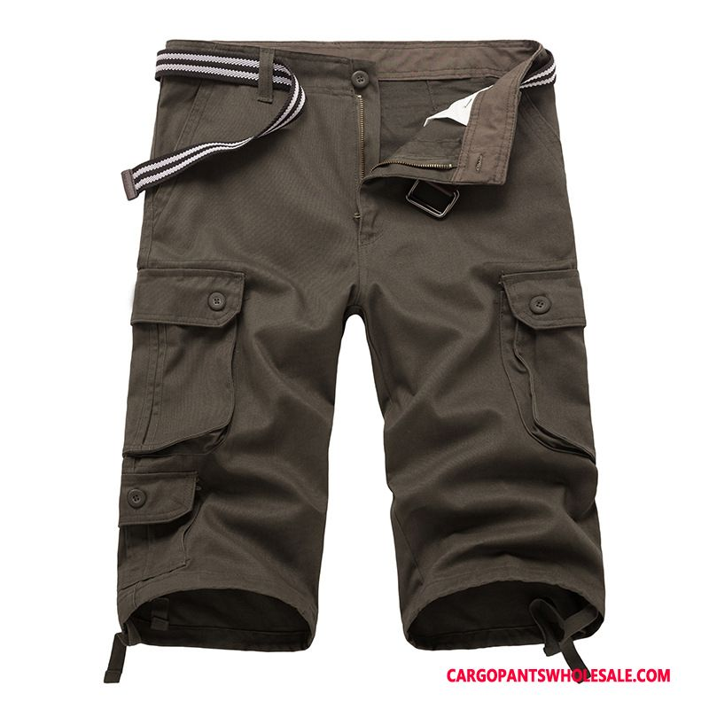 Capri Pants Men Green Shorts Motion Summer Cargo Thin Section