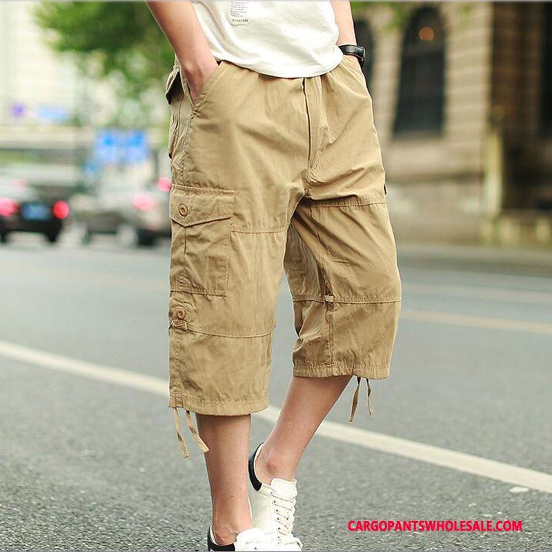 Capri Pants Men Khaki Capri Pants Cargo Beach Sweatpants Straight