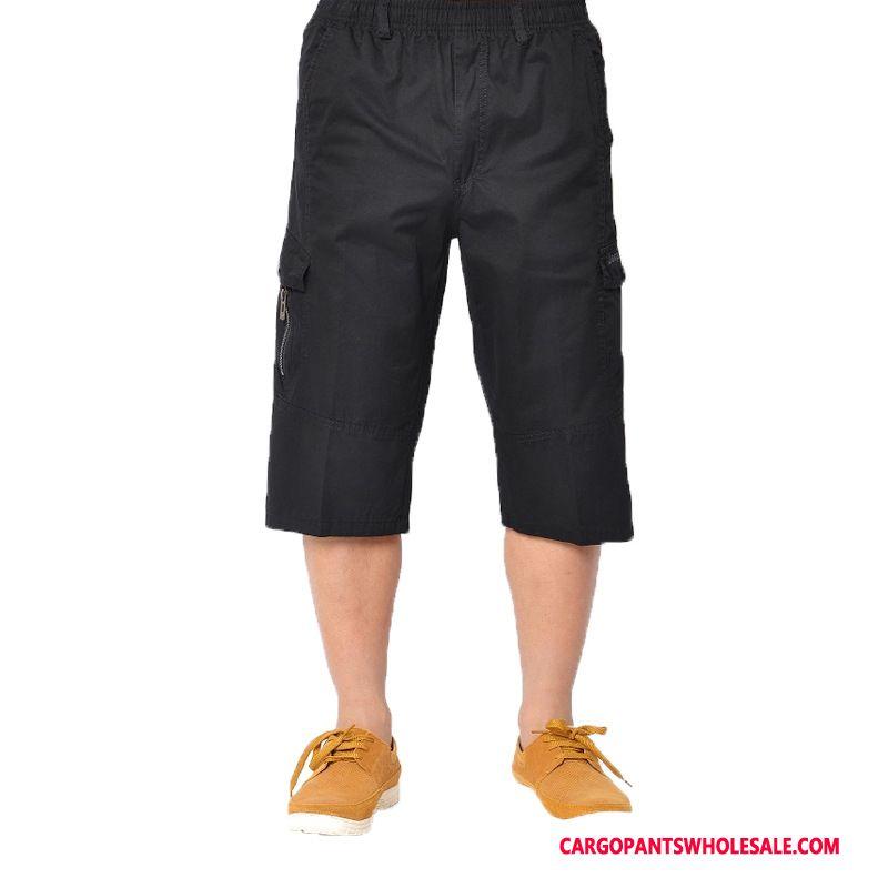 Capri Pants Men Khaki Capri Pants Fat Thin Section Cargo Pants Summer