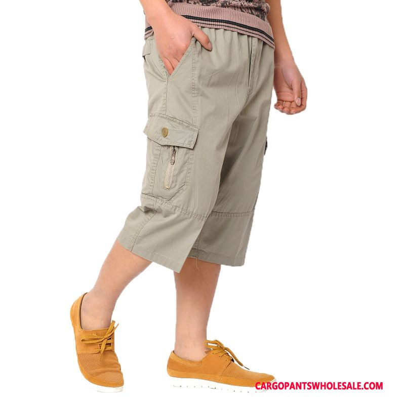 Capri Pants Men Khaki Capri Pants Fat Thin Section Cargo Pants Summer
