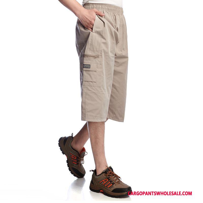 Capri Pants Men Khaki Casual Pants Cotton Cargo Pants Straight Multi-pocket