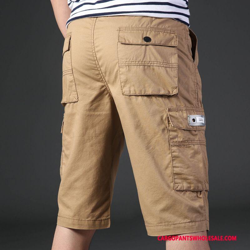Capri Pants Men Khaki Green Summer Slim Fit Pants Shorts Shorts