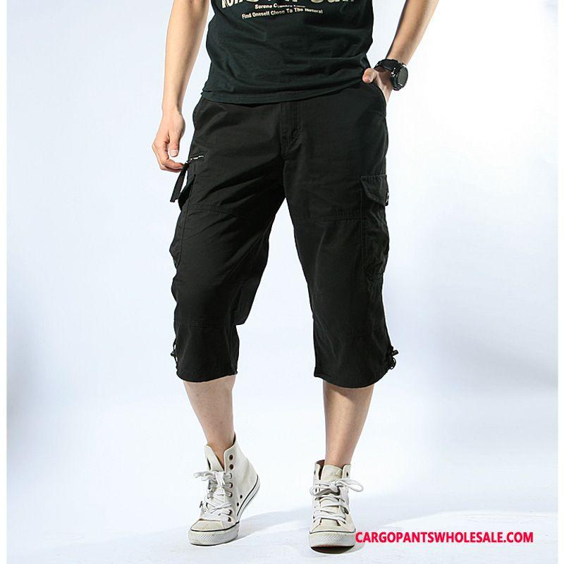 Capri Pants Men Khaki Multi-pocket Outdoor Summer Motion Pants