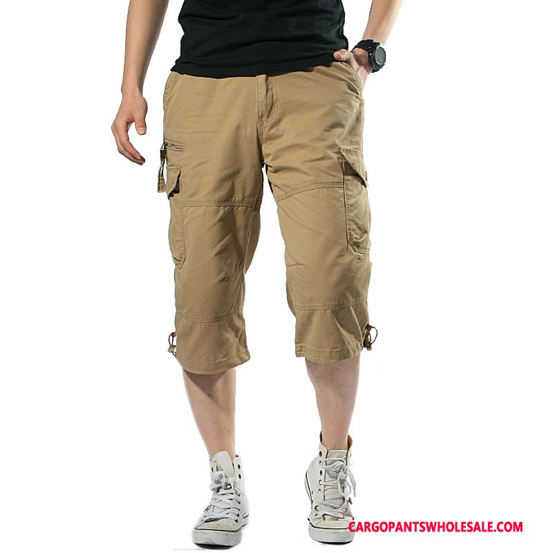 Capri Pants Men Khaki Multi-pocket Outdoor Summer Motion Pants