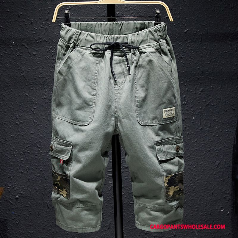 Capri Pants Men Light Green Loose Cargo Pants Casual Pants Motion Beach